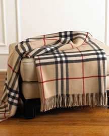Burberry Check Throw in Camel