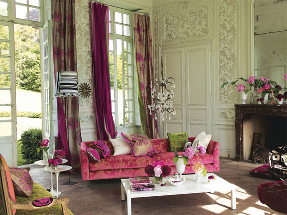 Flirty fun color designers guild living room pink and green