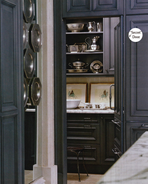 Pewter kitchen with a surprise interior design for Hidden pantry doors