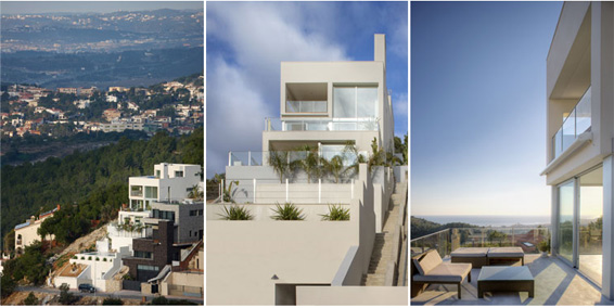 Slopped House Barcelona by Allford Hall Monaghan Morris built on a slope, Stepped House