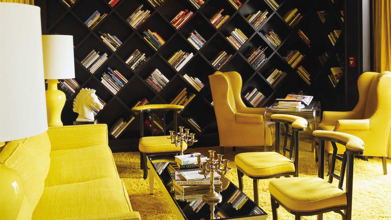 Diagonal Bookcase Viceroy Santa Monica designed by Kelly Werstler