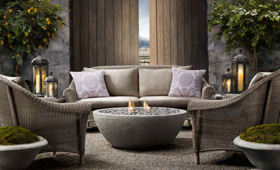 River Rock Fire Bowl Fire Pit Restoration Hardware