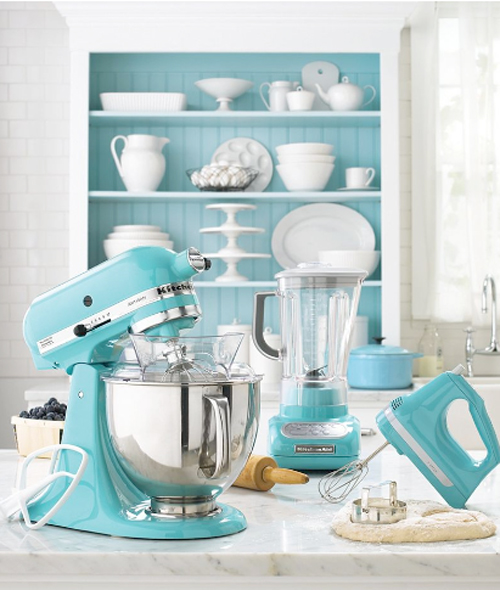 Kitchenaid stand mixer in aqua sky ice