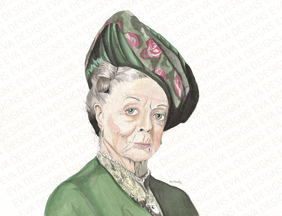 Maggie Smith Downton Abbey painting by Eva Robertson