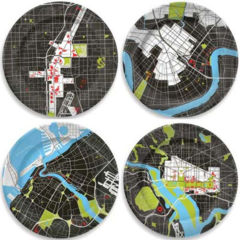 City Plates-Set of Four