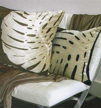 Elephant Ear Leaf Motif Cushions