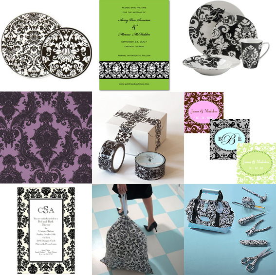 Black and White Damask Printed Accessories, Plates. Invitation, Wallpaper, garbage bags