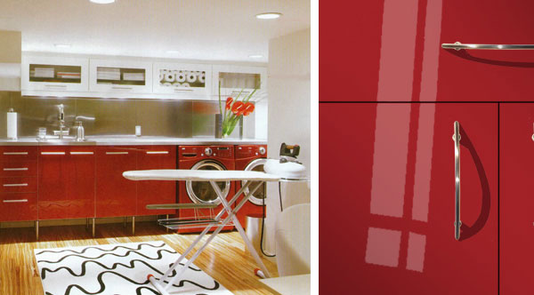 red gloss cabinet doors laundry