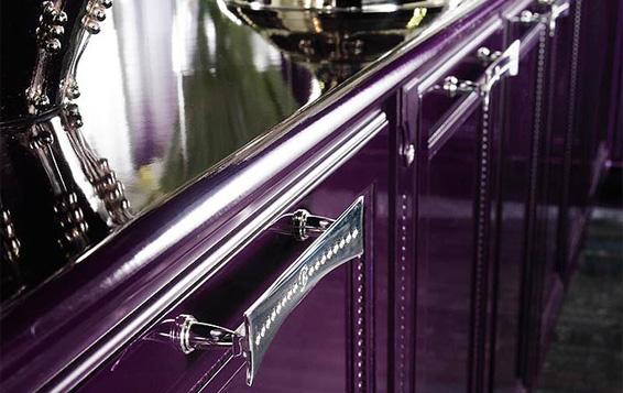 Brummel Custom Kitchen purple kitchen detail