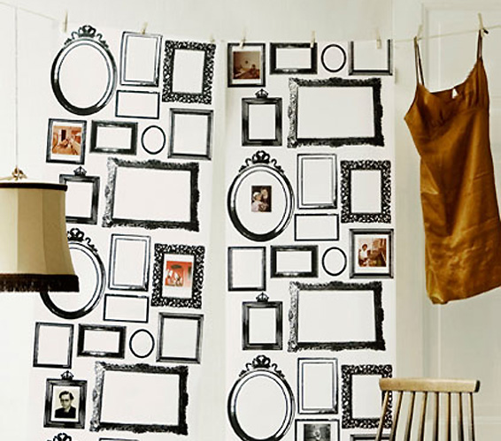 Familjen framed Wallpaper by Lia Bengtsson with classic picture frames