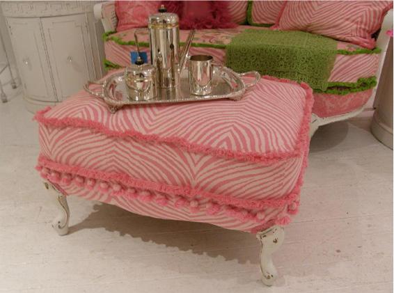 Pink Zebra Print Ottoman matching settee