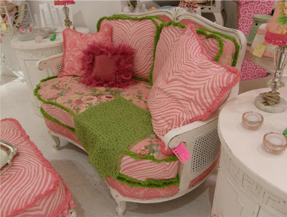 Pink Settee with Green Fringe Trim