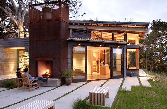 House Ocho exterior fireplace