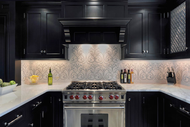 stone tile backsplash inset chateaux