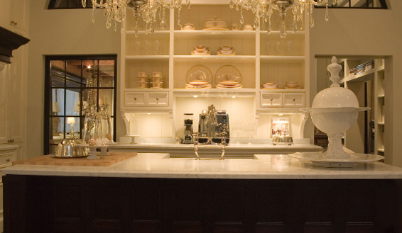 de Portier French Kitchen Dark Island and White open shelving