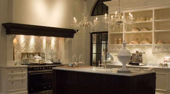 de Portier French Kitchen White and Dark Wood Showroom