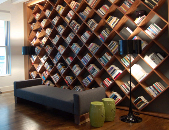 Diagonal Bookshelves built-in residential