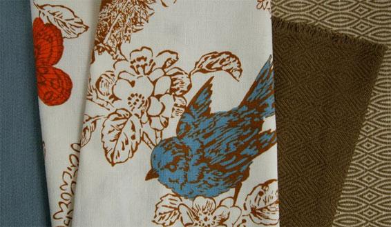 Winter bird print duralee fabric