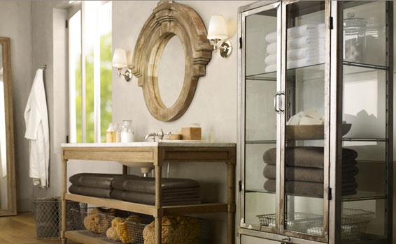 european bath vanity with glass cabinet