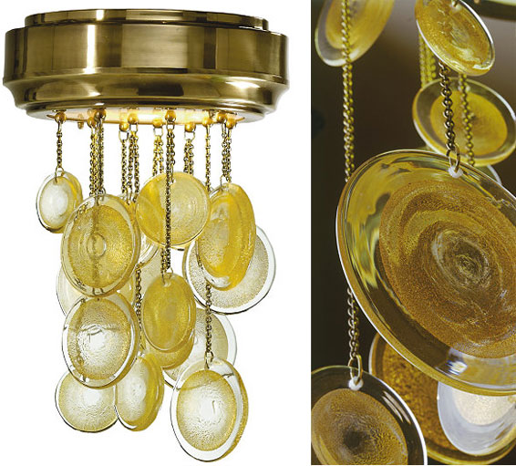 Syro Ceiling Pendant Murano glass and gold discs