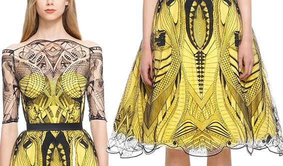 Alexander McQueen Dress yellow black Drew Barrymore