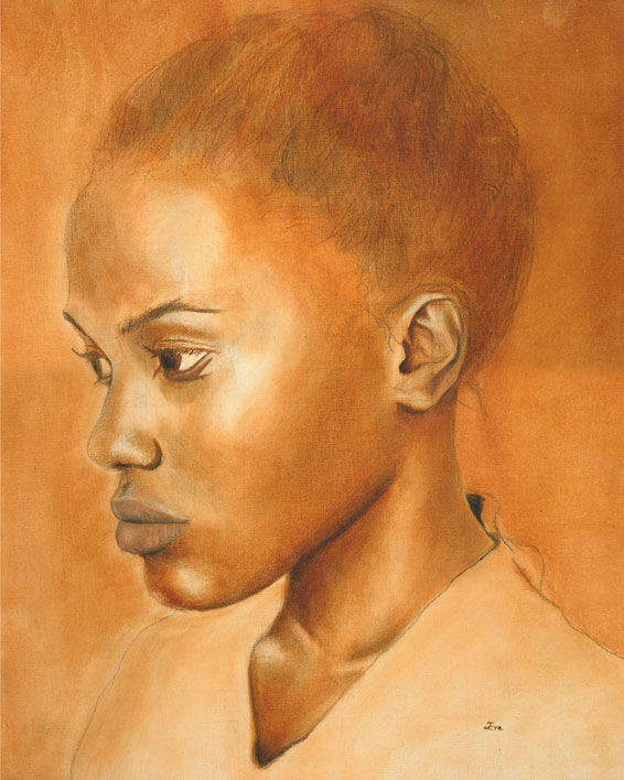 Girl in Burnt Sienna Oil Painting Portrait by Eva Robertson