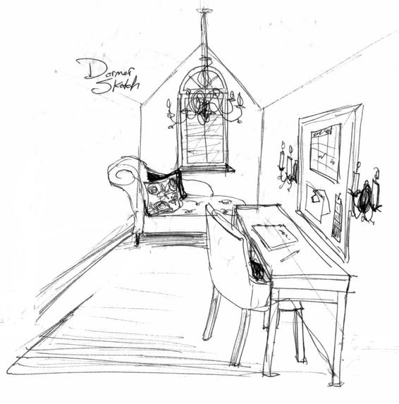 Quick Design Sketch of Dormer Desk Reading Nook