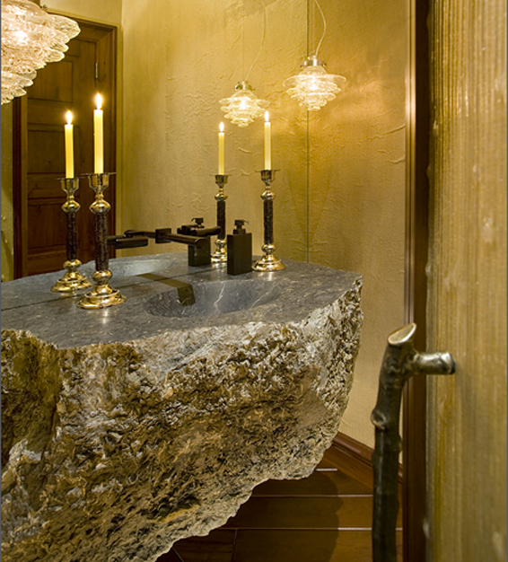 Get This Look Earthy Powder Room Interior Design