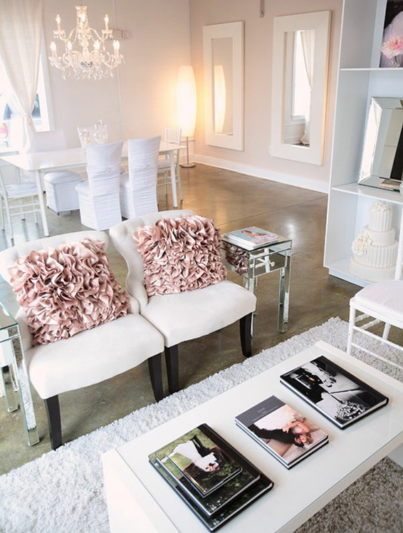 ruffle pillows wedding office in blush