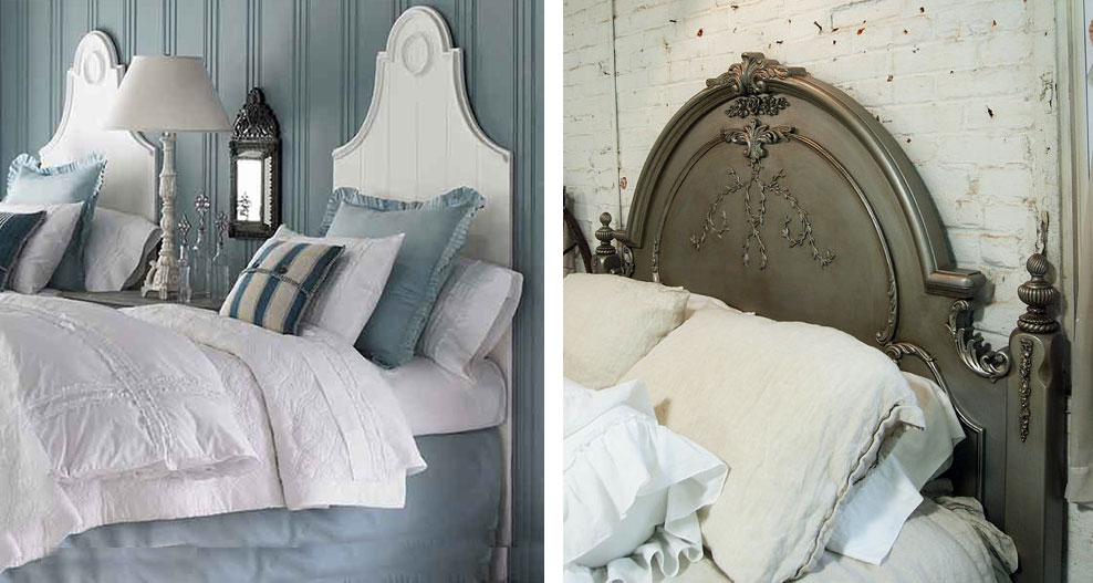 French Inspired Bedroom with white sculptural headboard