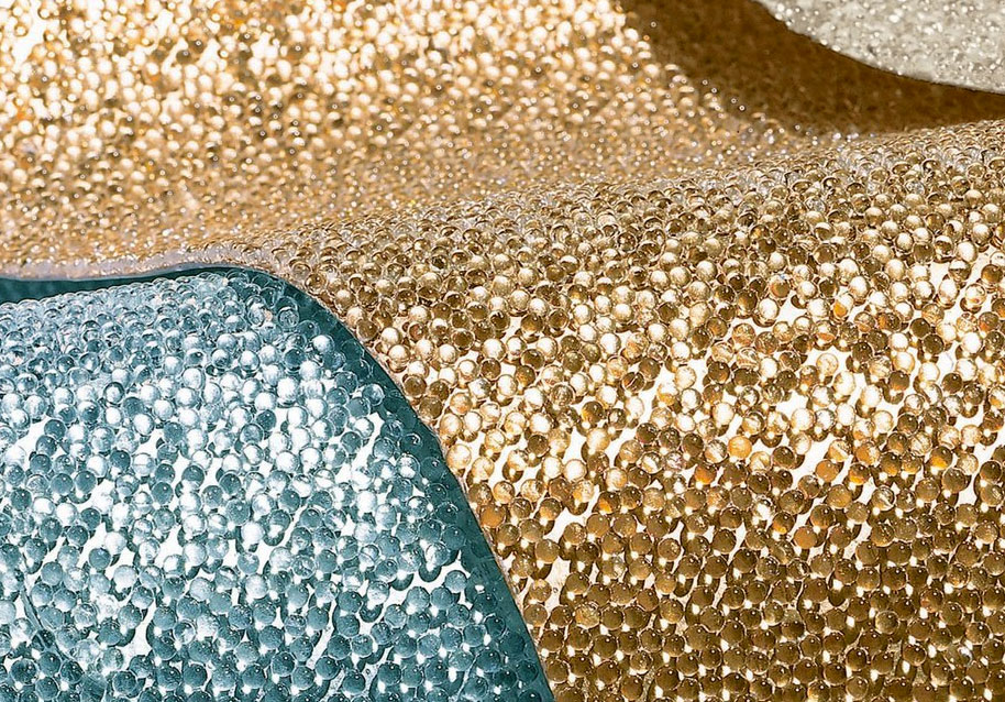 glass bead wall covering by Maya Romanoff