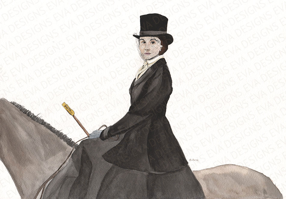 Mary on horse Downton Abbey painting by Eva Robertson