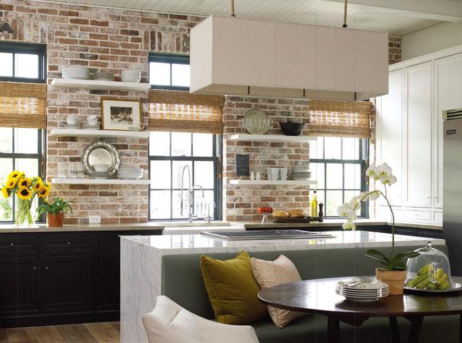 European style kitchen brick