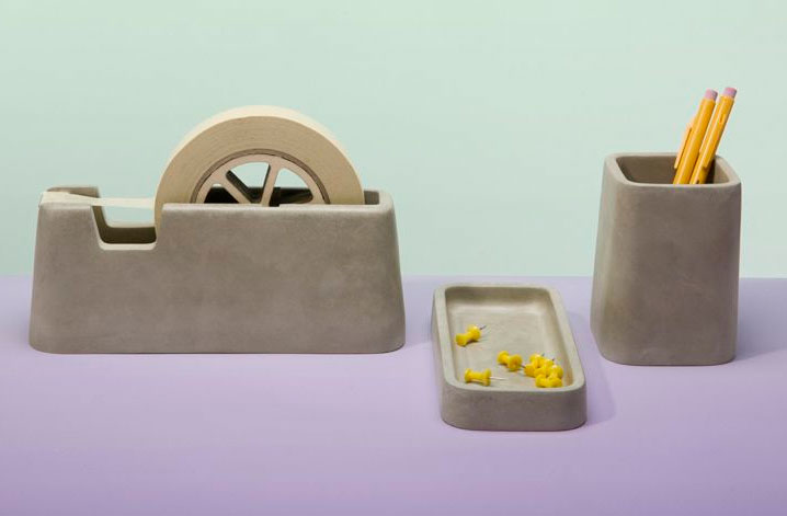 concrete desk accessories by Magnus Pettersen