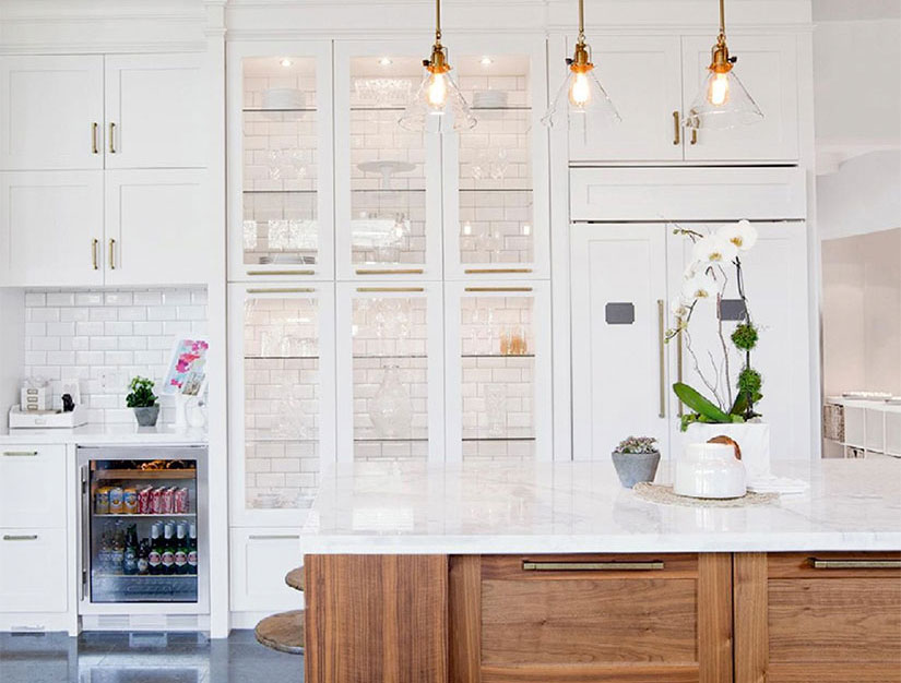 Lovely Tile Backed Cabinets